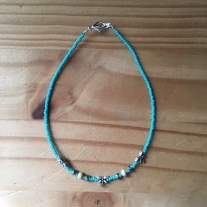 Turquoise & Wood Beaded Anklet with Dragonflies